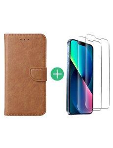 Ntech iPhone 13 Mini hoesje bookcase Bruin - iPhone 13 Mini  bookcase hoesje - Pasjeshouder hoesje voor iPhone 13 Mini - iPhone 13 Mini Screenprotector 2pack