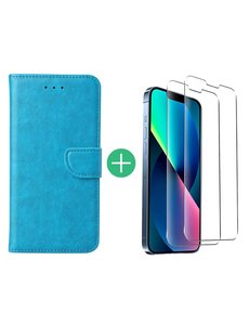 Ntech iPhone 13 Pro hoesje bookcase Blauw - iPhone 13 Pro  bookcase hoesje - Pasjeshouder hoesje voor iPhone 13 Pro - iPhone 13 Pro Screenprotector 2 pack