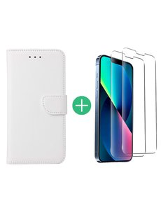 Ntech iPhone 13 Pro Max hoesje bookcase Wit - iPhone 13 Pro Max bookcase hoesje - Pasjeshouder hoesje voor iPhone 13 Pro Max - iPhone 13 Pro Max Screenprotector 2pack