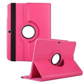 Merkloos Samsung Galaxy Tab 3 10.1 Tablet Hoes cover 360 graden draaibaar met Multi-stand kleur Roze / Pink