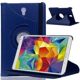Merkloos Samsung Galaxy Tab S 8.4 inch T700 Tablet Hoes met 360° draaistand Case kleur Donker Blauw