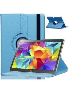 Merkloos Samsung Galaxy Tab S 10.5 inch T800 / T805 Tablet hoesje met 360° Draaibaar Licht Blauw