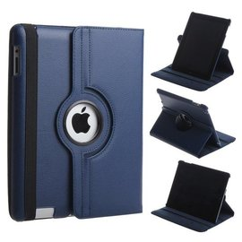 Merkloos 360 graden Protect cover case voor iPad 2 / 3 / 4 Donker Blauw