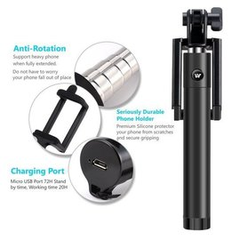 Merkloos Mini Foldable bluetooth Selfie Stick met knop in het handvat voor uw iPhone 6 Plus / 6S Plus / Bluetooth Afstandsbediening