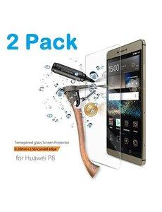 Merkloos 1 + 1 Gratis Huawei P8 glazen Screenprotector Tempered Glass (0.3mm) - Ntech