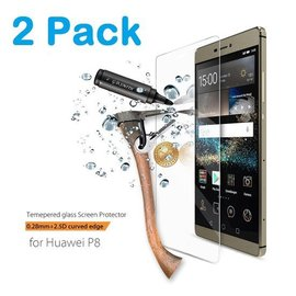 Merkloos 1 + 1 Gratis Huawei P8 glazen Screen protector Tempered Glass 2.5D 9H (0.3mm) - Ntech
