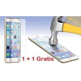 Merkloos GRATIS 1 + 1  -  iPhone 6 / 6S  Glazen tempered glass / Screen protector 2.5D 9H (0.3mm) - Ntech