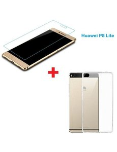 Merkloos Nieuwe Huawei P8 Lite Tempered glass / Screenprotector + Ultra Dun Transparant silicone hoesje
