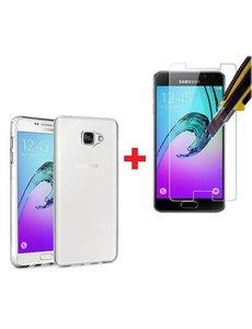 Merkloos Samsung Galaxy A3 2016 Glazen Screenprotector + Met Gratis Ultra Dunne TPU silicone case hoesje