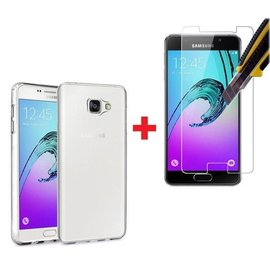 Merkloos Samsung Galaxy A3 2016 Tempered glass Screenprotector + Met Gratis  Ultra Dunne TPU silicone case hoesje