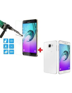 Merkloos Samsung Galaxy A5 2016 Glazen Screenprotector + Met Gratis Ultra Dunne TPU silicone case hoesje