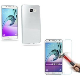 Merkloos Samsung Galaxy J5 2016  glazen Screen protector Tempered Glass + Gratis Ultra Dunne TPU silicone case hoesje