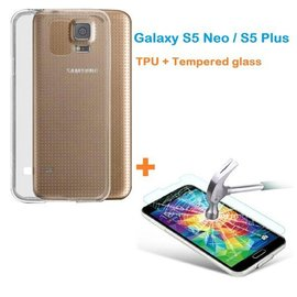 Merkloos Samsung Galaxy S5 Neo / S5 Plus Ultra Dun Transparant Silicone Hoesje + gratis tempered glass