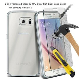 Merkloos Samsung Galaxy S6 Tempered Glass / Screenprotector + gratis Ultra Dun Transparant Gel TPU hoesje
