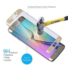 Merkloos Samsung Galaxy S6 edge Tempered Glass / screen protector - Ultra thin  - Arch Edge Goud