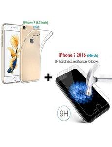 Merkloos iPhone 8 / 7 tempered glass met Gratis Transparant silicone naked skin tpu hoesje