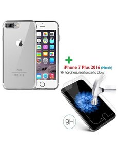 Merkloos iPhone 8+ / 7+ 5.5 inch tempered glass / Screenprotector met Gratis Transparant silicone naked skin tpu hoesje