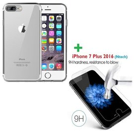 Merkloos iPhone 8+ / 7+ 5.5 inch tempered glass / screen protector met Gratis Transparant  silicone naked skin tpu hoesje