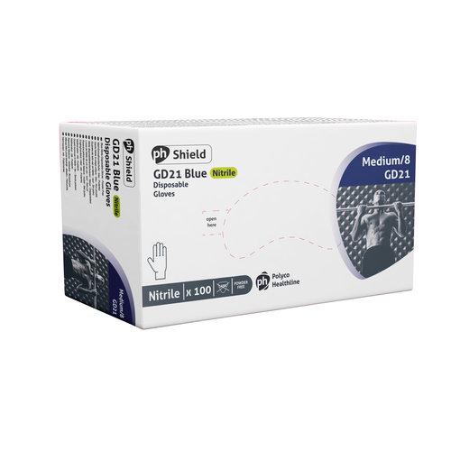 Polyco Healthline PH-Shield Nitrile gloves blauw poedervrij (100 stuks per doosje)