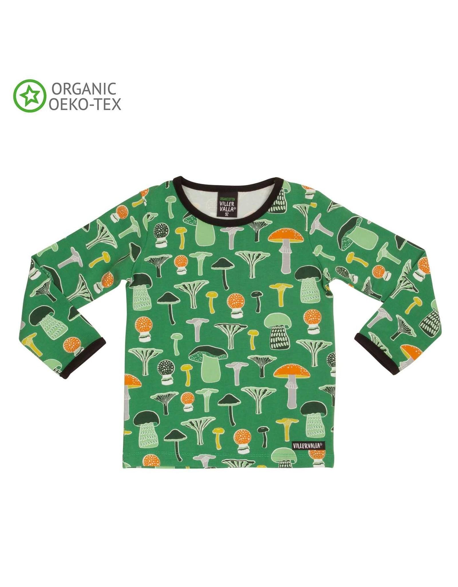 Villervalla Groene T-shirt Met Paddenstoelen - LAATSTE MAAT 104