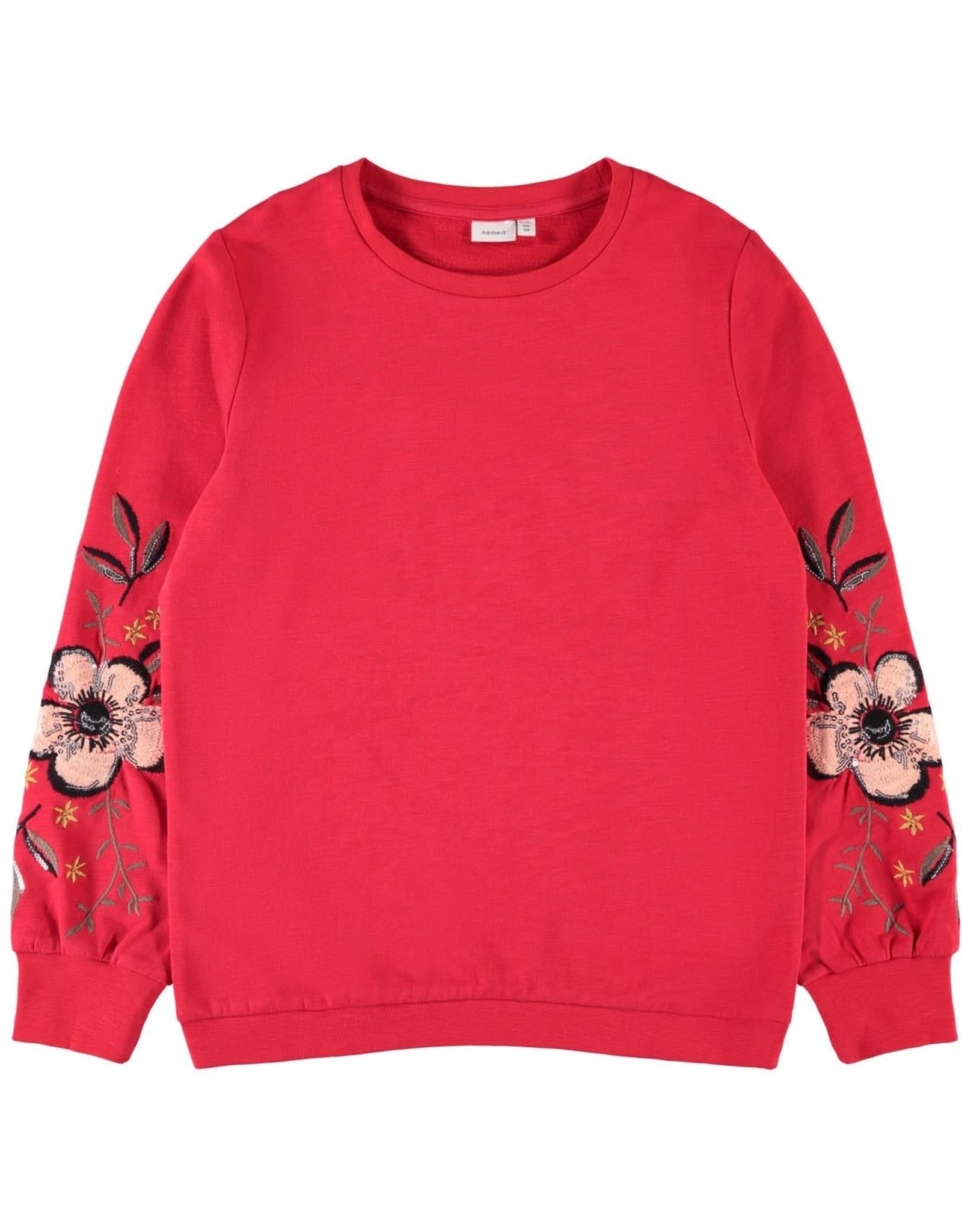 Name It Sweater Rood Met Geborduurde Bloemen
