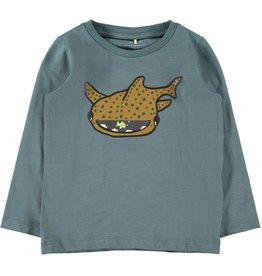 Name It T-shirt met grote vis en extra vis in mond (2 kleuren)