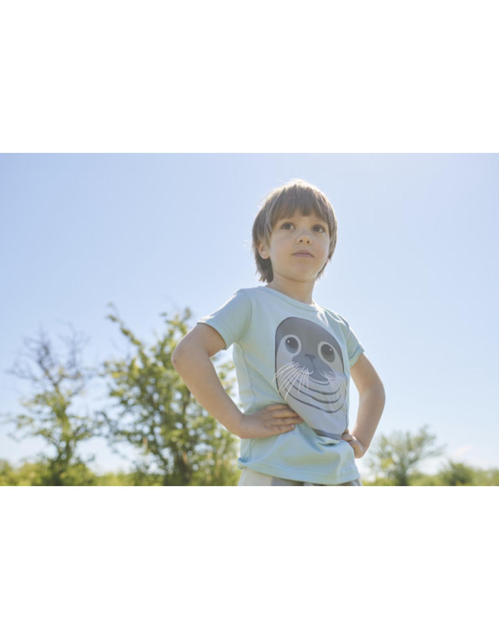 Dyr Lichtblauwe t-shirt van Dyr met zeehond - LAATSTE MAAT 4Y