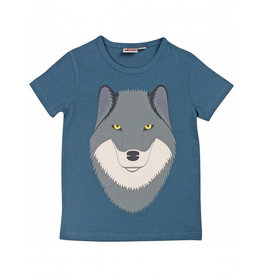 Dyr Petrol blauwe t-shirt met wolf
