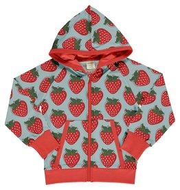 Maxomorra Hoodie vest met rits en aardbeien