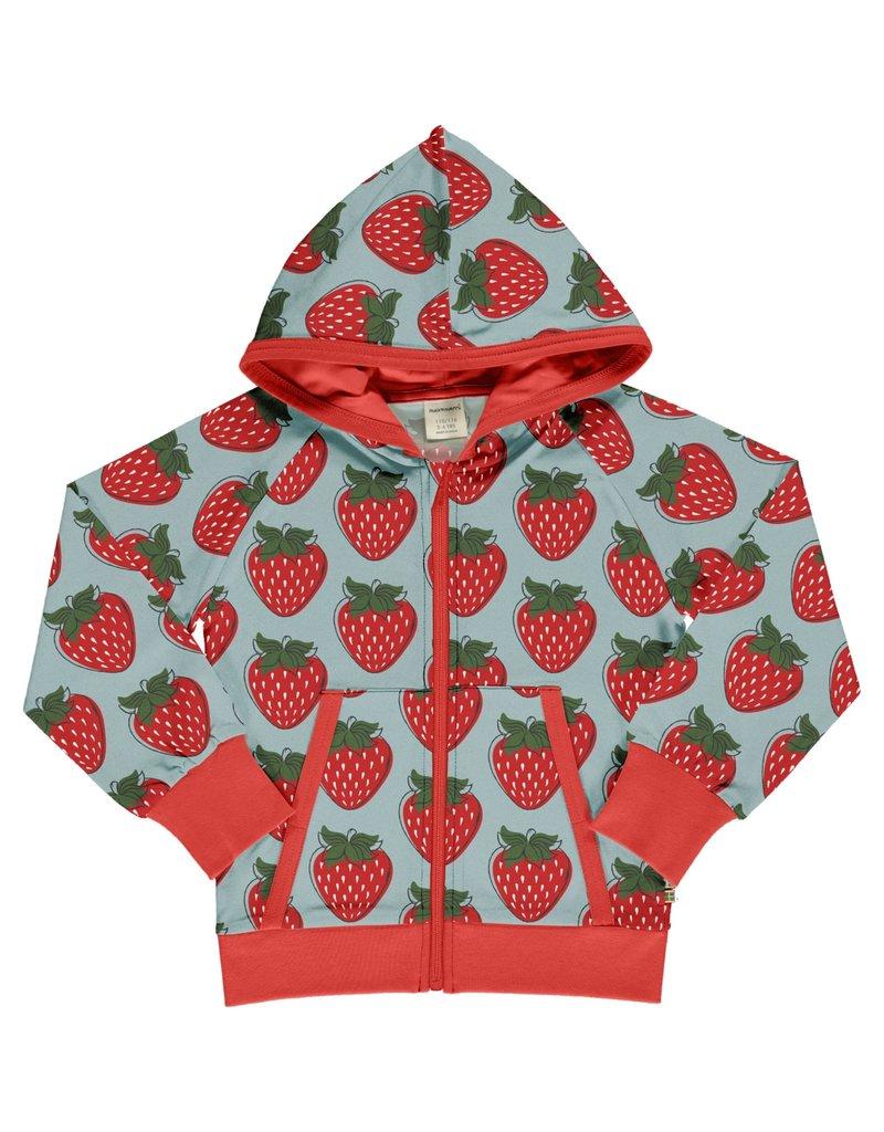 Maxomorra Maxomorra Hoodie vest met rits en aardbeien print