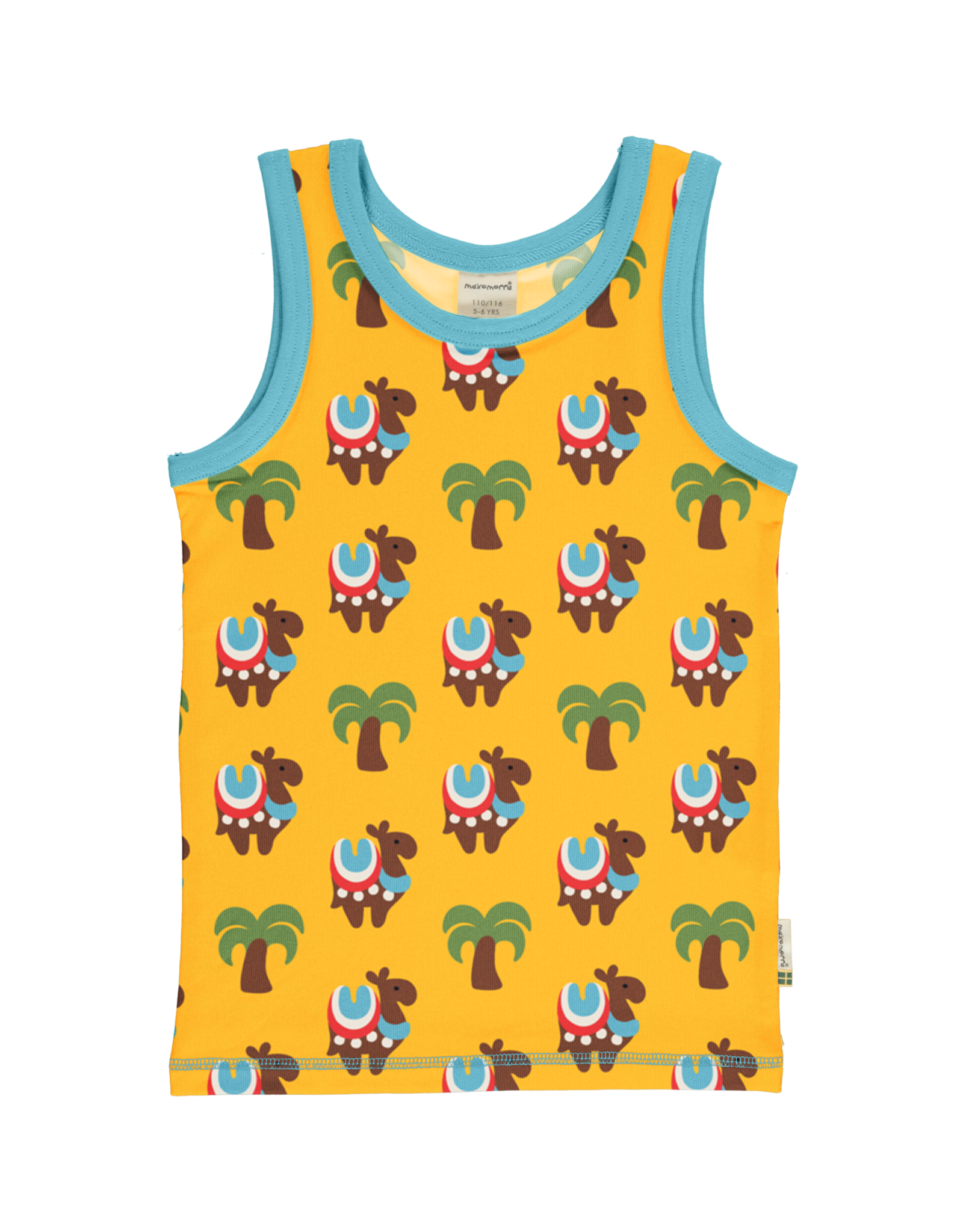 Maxomorra Mouwloze gele t-shirt van Maxomorra met kamelen print