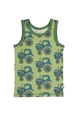 Maxomorra Groene T-shirt zonder mouwen met tractor print van Maxomorra