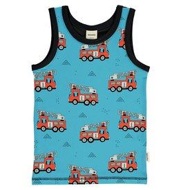 Meyadey Mouwloze T-shirt met brandweerwagens
