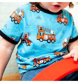 Meyadey T-shirt met brandweerwagens