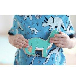 Meyadey T-shirt met vriendelijke dinosaurussen