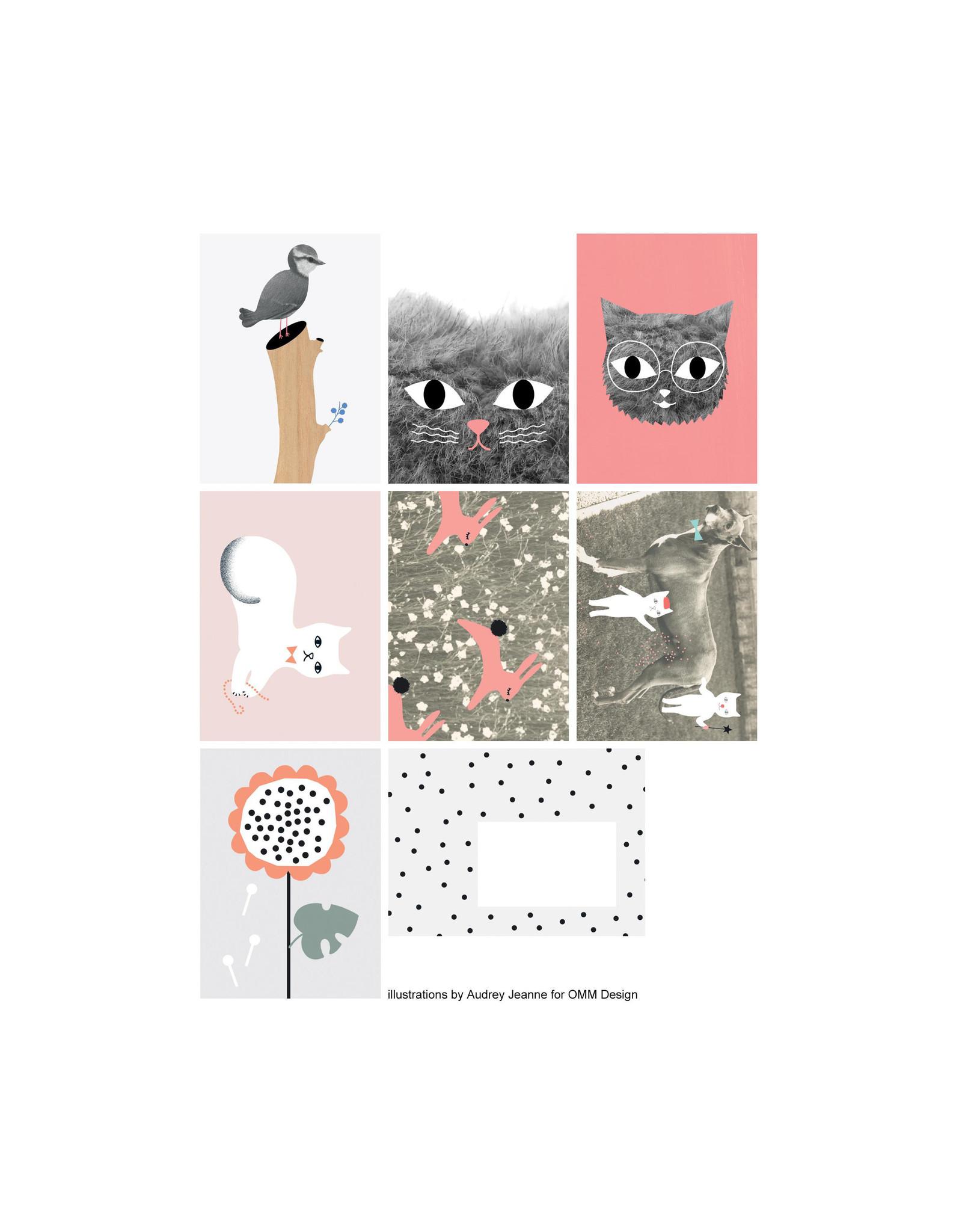 OMM Design Postkaarten verpakt per 7 (4 verschillende soorten)