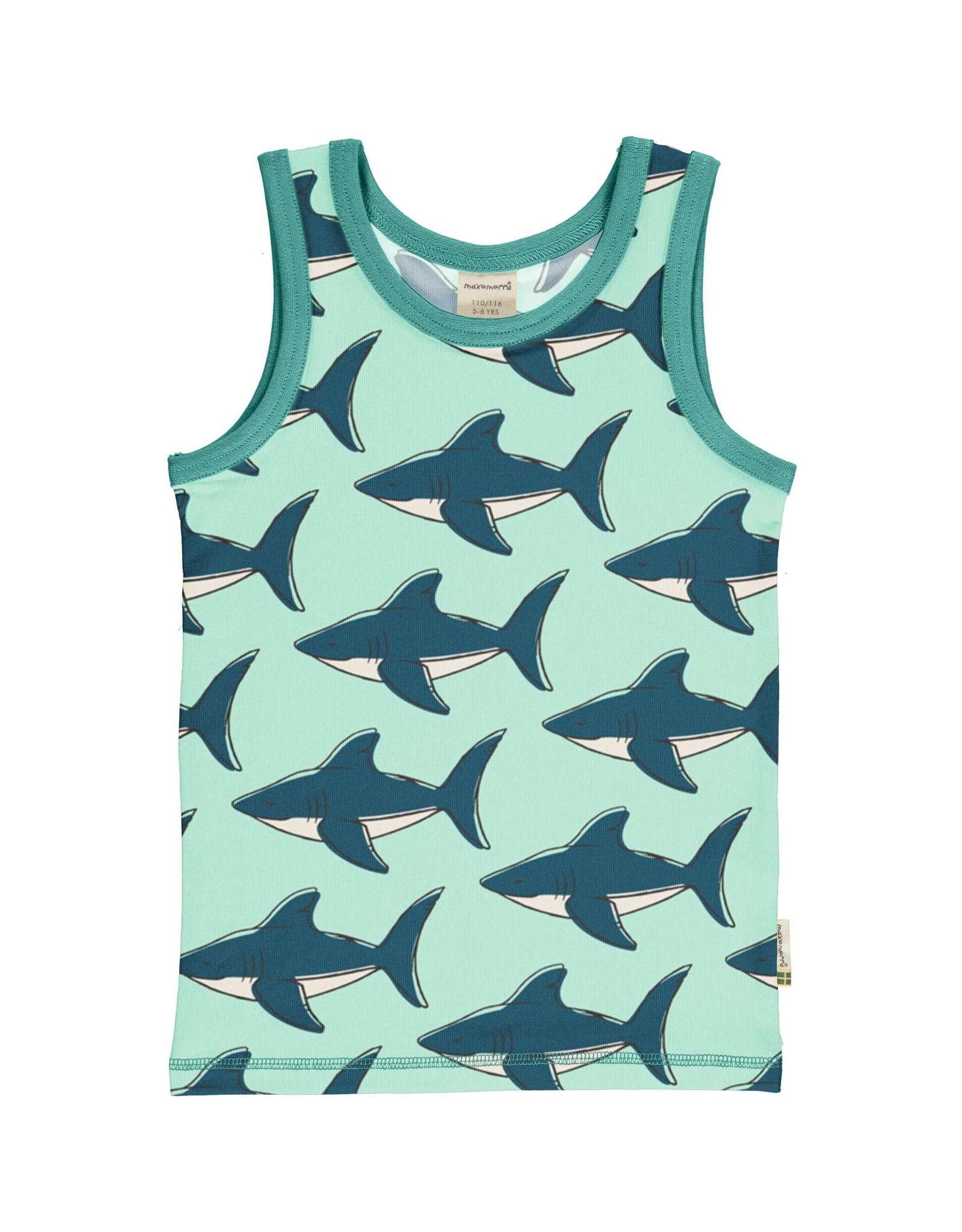 Maxomorra Mouwloze t-shirt met haaienprint