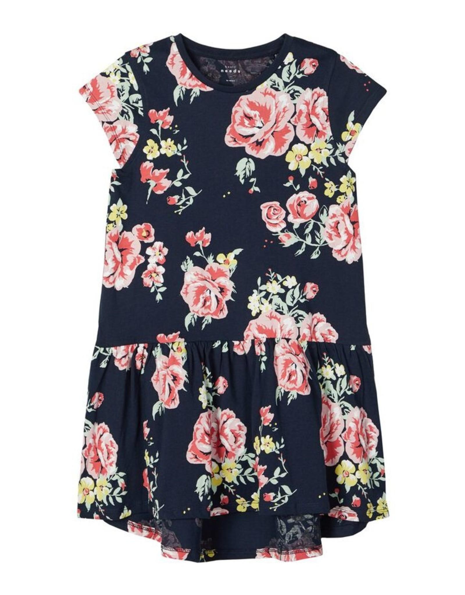 Name It Donkerblauw zomerkleedje met grote bloemen