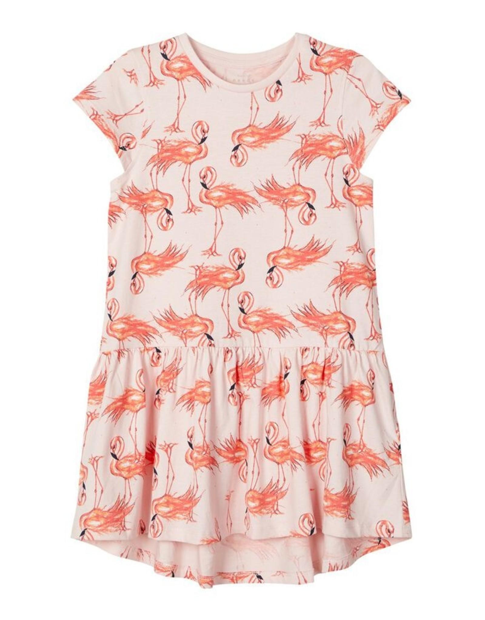 Name It Roze zomerkleedje met flamingo's