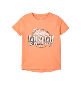 Name It Meloen oranje t-shirt met bedrukking