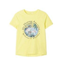 Name It Citroen gele t-shirt met flamingo's