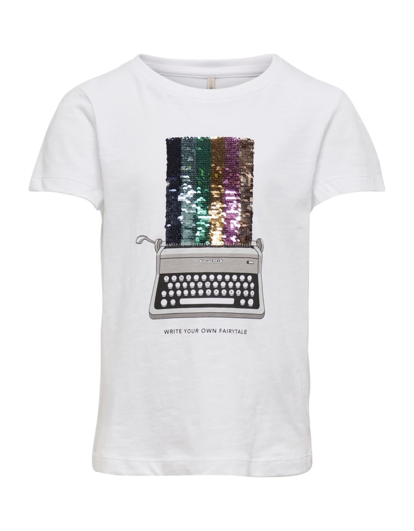 KIDS ONLY T-shirt met retro typemachine en pailletten