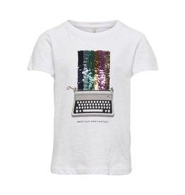 KIDS ONLY T-shirt met retro typemachine en pailletten