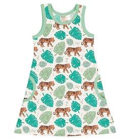 Meyadey Mouwloos kleedje met tijger patroon