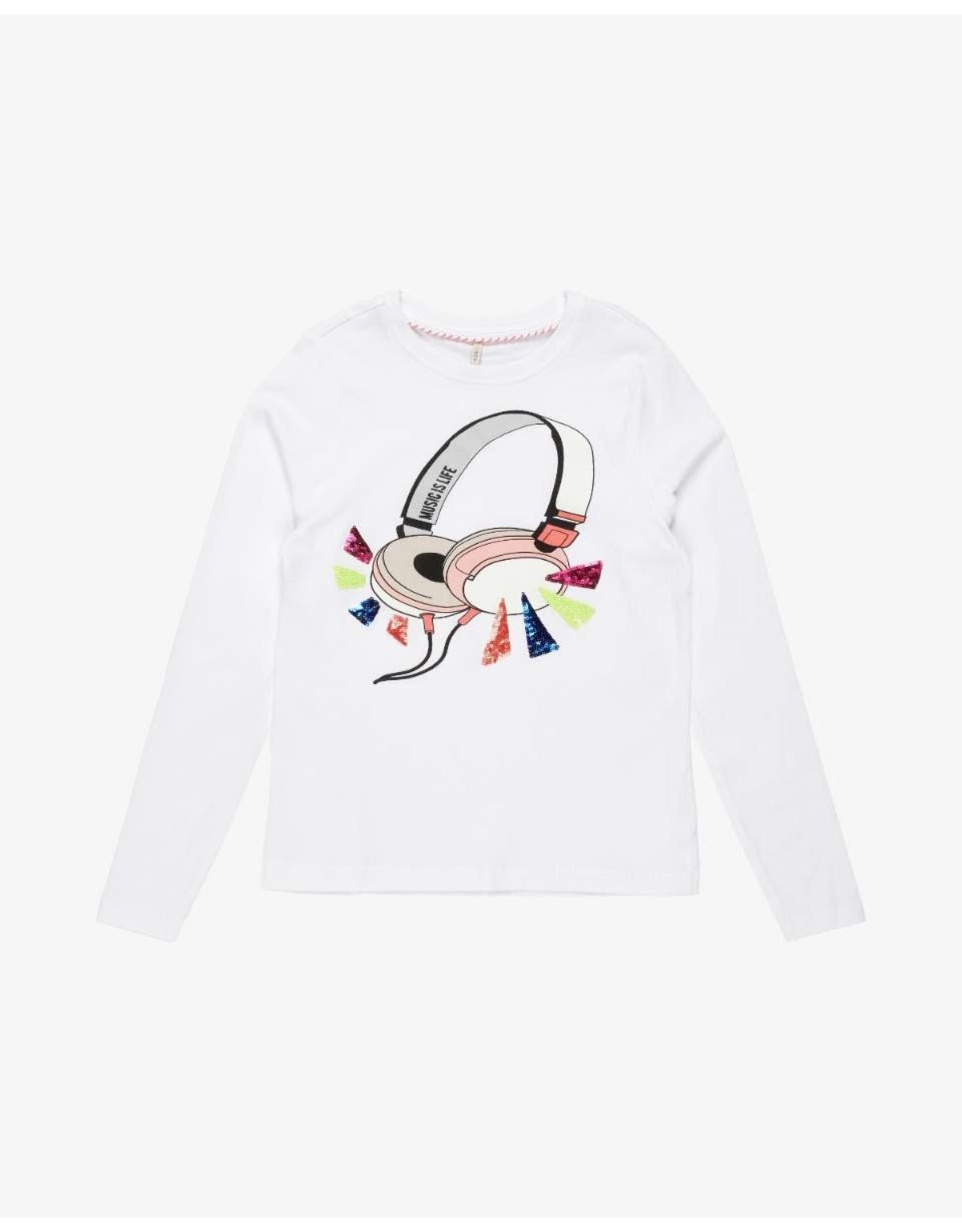 KIDS ONLY Witte t-shirt met koptelefoon print