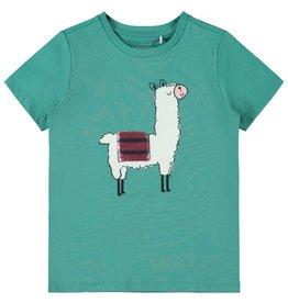 Name It Groene lama t-shirt met omkeerbare pailletten