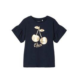 Name It T-shirt met goudkleurige kersenprint - LAATSTE MAAT 92