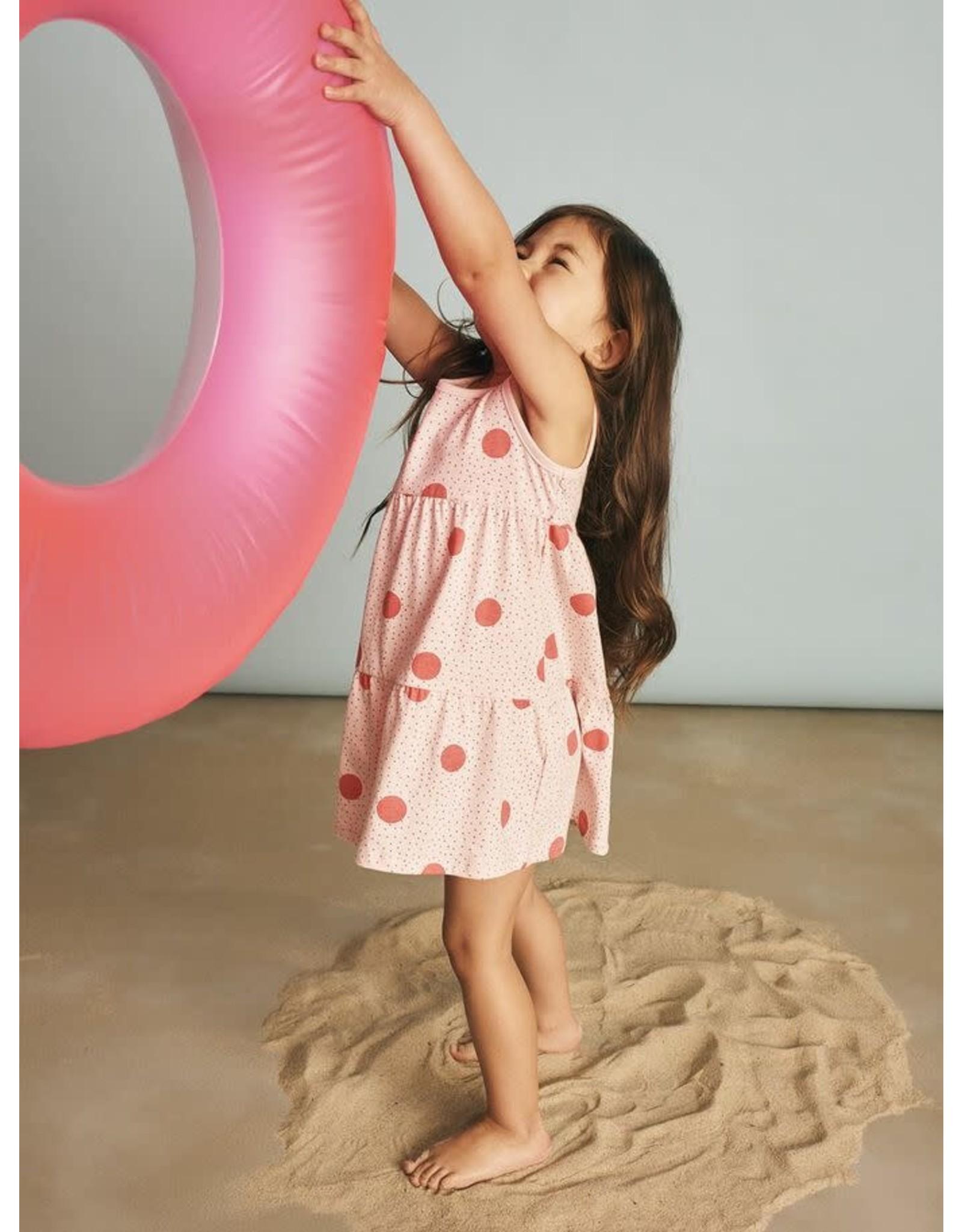 Name It Mouwloze wijde zomerjurk met roze bollen