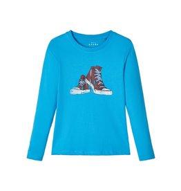 Name It Basis t-shirt fel blauw met grafische print