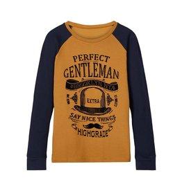 Name It Bruine t-shirt met blauwe contrast mouwen